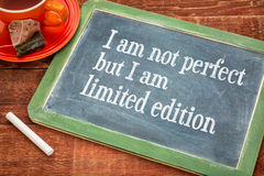 I am not perfect but limited edition Royalty Free Stock Images