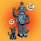 I am not a robot said dog future science fiction. I am not a robot, said robot dog future science fiction retro style Royalty Free Stock Images