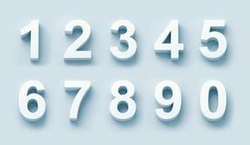i numeri bianchi 3d hanno impostato Fotografia Stock Libera da Diritti