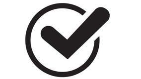 I numeri ed i simboli formano un segno del segno di spunta archivi video