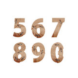 I numeri fatti delle barre di legno si sono collegati con i piatti di metallo Fotografia Stock Libera da Diritti