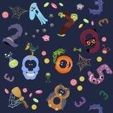 I numeri gradiscono i simboli del modello di Halloween sulla marina Royalty Illustrazione gratis