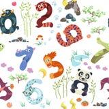 I numeri gradiscono il modello asiatico degli animali Illustrazione Vettoriale