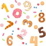 I numeri gradiscono il modello senza cuciture dei panini e dei dolci Illustrazione di Stock