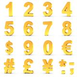 I numeri hanno messo in oro con il percorso di ritaglio per ogni oggetto Fotografia Stock Libera da Diritti