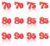 I numeri nelle immagini tridimensionale 70 - 95 Fotografia Stock Libera da Diritti