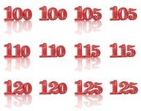 I numeri nelle immagini tridimensionale 100 - 125 Immagine Stock Libera da Diritti