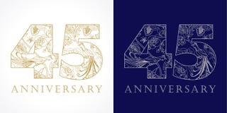 i numeri pieghi di celebrazione lussuosi di 45 anni illustrazione vettoriale