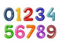 I numeri sono fatti di plasticine colorato immagine stock