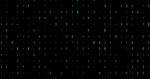 I numeri verdi ed il codice digitale delle lettere scorrono, fondo, pirata informatico e nuovo senza cuciture generati da compute stock footage