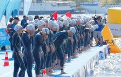 I nuotatori della donna appena prima il segnale di avvio Fotografia Stock