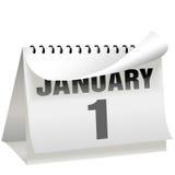 I nuovi anni di calendario di giorno gira la pagina il 1° gennaio Fotografia Stock Libera da Diritti