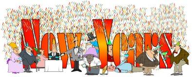 I nuovi anni di parole con la gente bevente e facente festa assortita Fotografia Stock