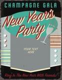 I nuovi anni fanno festa l'invito d'annata retro Tin Sign Art del partito di festa di Natale di Tin Sign Art Invitation Spell di  royalty illustrazione gratis