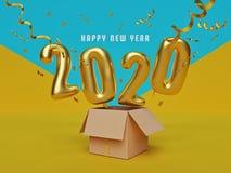 I nuovi saluti felici di 2020 anni rappresentazione 3d illustrazione vettoriale