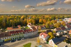 Iłowa, A Small Town In Poland Seen From Above. Stock Image