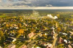 Iłowa, A Small Town In Poland Seen From Above. Royalty Free Stock Photography