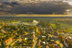 Iłowa, A Small Town In Poland Seen From Above. Royalty Free Stock Image