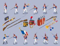 Napoleon`s grenadiers, French soldiers 19st century on  background stock illustration