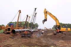 I Paesi Bassi del cantiere del tubo di gas Immagini Stock Libere da Diritti