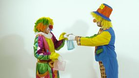 I pagliacci di circo si accolgono, danno i presente e vanno via video d archivio