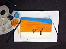 Painting landscape with watercolor. I painted a watercolor landscape: Death Valley - with dry trees and sand dunes stock photos