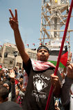 I Palestinesi marciano per richiedere la libertà per i prigionieri Fotografie Stock