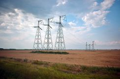 I pali elettrici aumentano sopra il campo con grano Immagini Stock