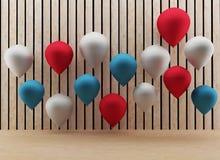 I palloni con stanza di legno in 3D rendono l'immagine Fotografia Stock Libera da Diritti