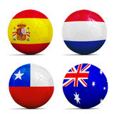 I palloni da calcio con il gruppo B teams le bandiere, Brasile 2014. Fotografia Stock
