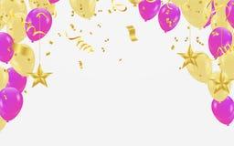 I palloni dorati leggeri con la porpora balloons i coriandoli che cadono su W illustrazione vettoriale