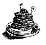 I pancake caldi freschi del dessert, sciroppo d'acero hanno versato con i mirtilli, illustrazione disegnata a mano di schizzo del illustrazione vettoriale