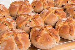I panini trasversali caldi appena al forno/hanno cucinato sullo scaffale di raffreddamento del cavo Fotografie Stock