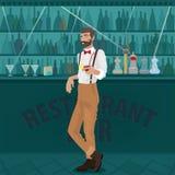 I pantaloni a vita bassa del barista offrono il cocktail alla barra Immagine Stock Libera da Diritti