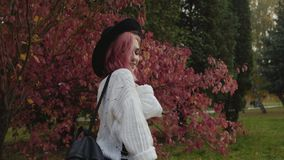 I pantaloni a vita bassa femminili camminano nel parco colourful di autunno, mettono sopra il cappello ed i sorrisi video d archivio
