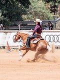 I partecipanti ai concorsi equestri eseguono su un'azienda agricola del cavallo Immagini Stock