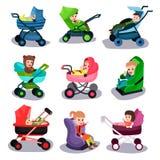 I passeggiatori e le sedi di automobile di bambino hanno messo, il trasporto della sicurezza dei bambini piccoli illustrazione di stock