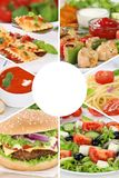 I pasti del pasto del collage della raccolta del menu dell'alimento mangiano il gruppo del ristorante immagine stock