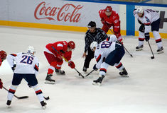 I. Pavlyukov (61) and T. Kopecky (82) on faceoff Royalty Free Stock Photography