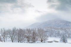 I pendii delle montagne di Caucaso in sole della nuvola Immagine Stock