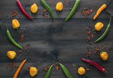 I peperoncini di Caienna, i peperoni gialli del habanero, i peperoni di pepperoncini ed il colore pepano fotografie stock