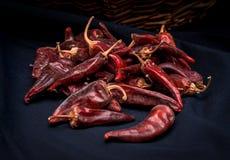 I peperoncini roventi secchi stanno trovando in un mucchio, glitering con differenti tonalità di rosso Immagine Stock