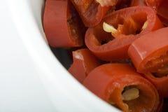 I peperoni caldi in su si chiudono Fotografie Stock
