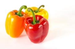 I peperoni rossi, arancio e gialli succosi con una coda verde si trova su un fondo bianco immagine stock