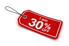 I am 30 percent off sale tag, 3d render. White background Stock Image
