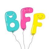 I personaggi dei cartoni animati sorridenti svegli dei migliori amici delle lettere BFF per sempre come partito balloons Fotografia Stock