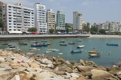 I pescherecci ancorati a Stanley harbor in Hong Kong, Cina Immagini Stock Libere da Diritti