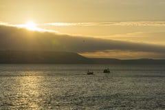 I pescherecci che lasciano Looe harbour all'alba, Cornovaglia, Regno Unito Fotografia Stock