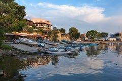 I pescherecci hanno ancorato in porticciolo di Città Vecchia di Nessebar, Bulgaria Fotografia Stock Libera da Diritti