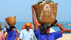 I pescherecci a Marari tirano, il Kerala, India Fotografia Stock Libera da Diritti
